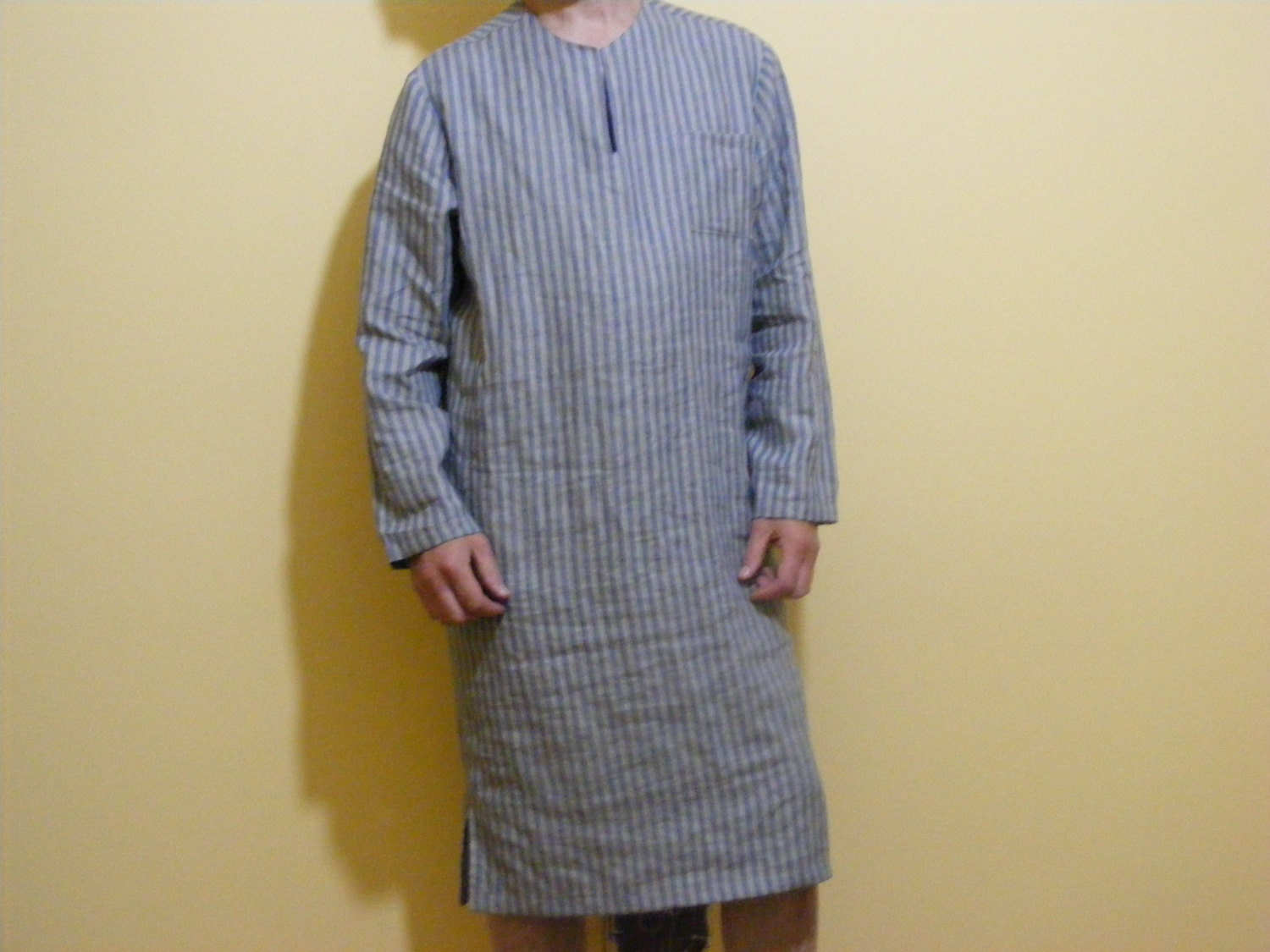 mens striped linen nightshirt lounge wear flax night shirt. Black Bedroom Furniture Sets. Home Design Ideas