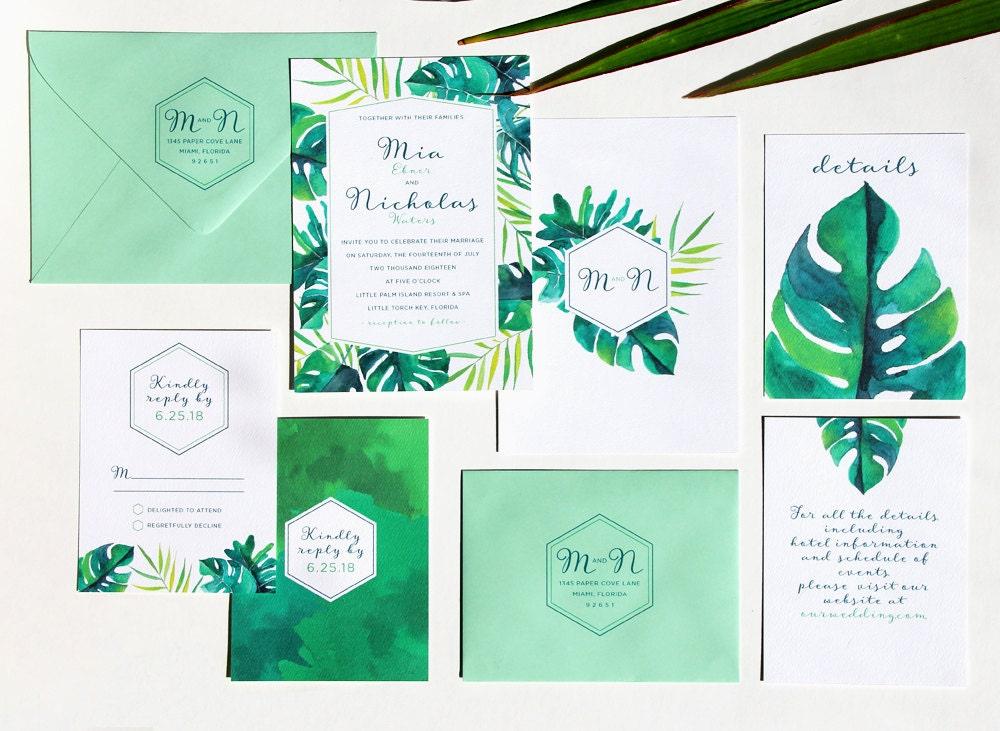 Tropical Wedding Invitations: Tropical Wedding Invitation Sample