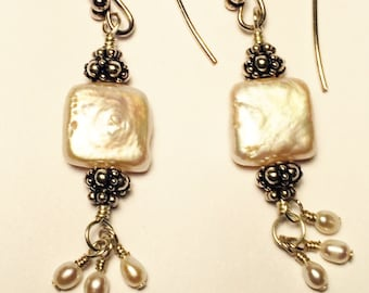 Square fresh water pearls with sterling silver dangle earrings