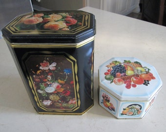 Vintage Floral Tin and Fruit Tin Made in England