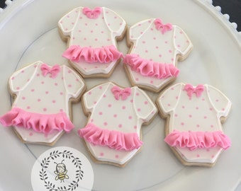 Ruffle Onesie Baby Shower Cookies