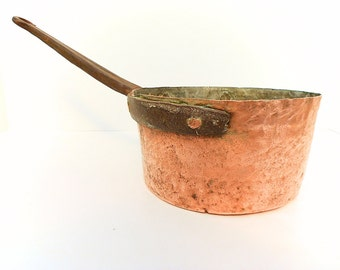 French Antique Hammered Copper Sauce Pan (1406 364)