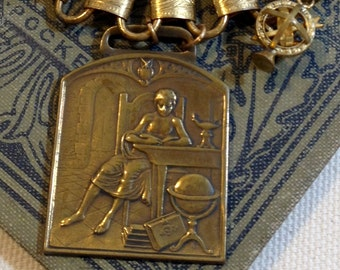 Reading Book Watch Fob Owl Charm Antique Assemblage Necklace