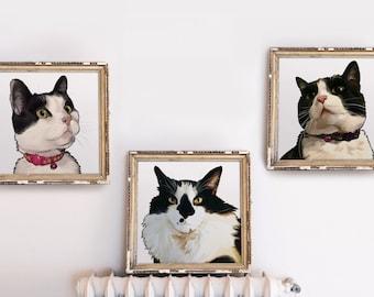 Set of 3 - Custom Cat Portrait Series