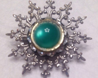 Small Silver Brooch with Green Stone