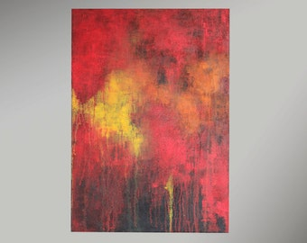 Abstract acrylic painting 70x100cm paintings original contemporary art, unique split, modern structure image, history black red