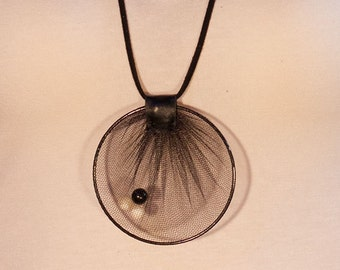 Bead necklace with leather straps