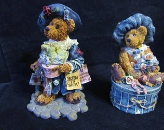"Boyds Bears The Bearstone Collection "" Grace & Jonathan + Victoria ""  Resin Figurines"