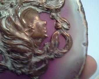 Art Nouveau metal lady on purple agate stone