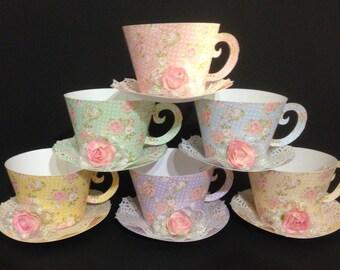 Teacup cupcake holder, Teacup party favor, Shabby Chic Teacup