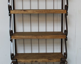 Rustic Baker's Rack , Rustic, Old Fashioned, Southwest, Stained Pine Wood, Forged Iron, Handmade, Exquisite Dough