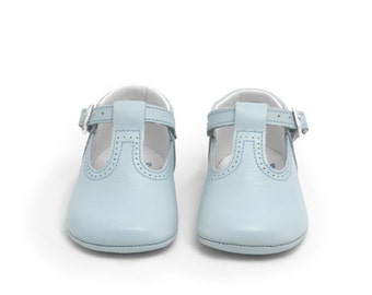Baby blue Leather T Strap Pepito baby shoe,strap shoe, baby shoes, leather shoes