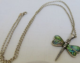 Vintage Sterling Silver Abalone Dragonfly Necklace