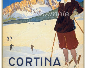 Vintage Cortina D'Ampezzo Italy Skiing Poster Print