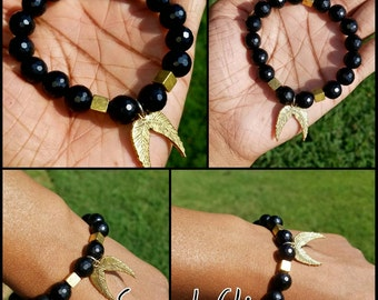 Unisex 10mm Faceted Black Agate Beaded Bracelet w/Gold Square Spacers and Gold Wings