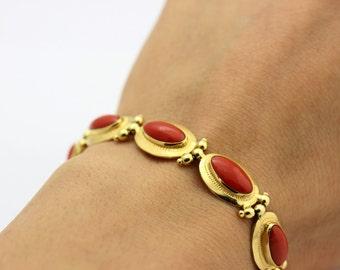 Vintage Red Coral Cabochon Bracelet, 18K Gold Bracelet, Red Coral Bracelet