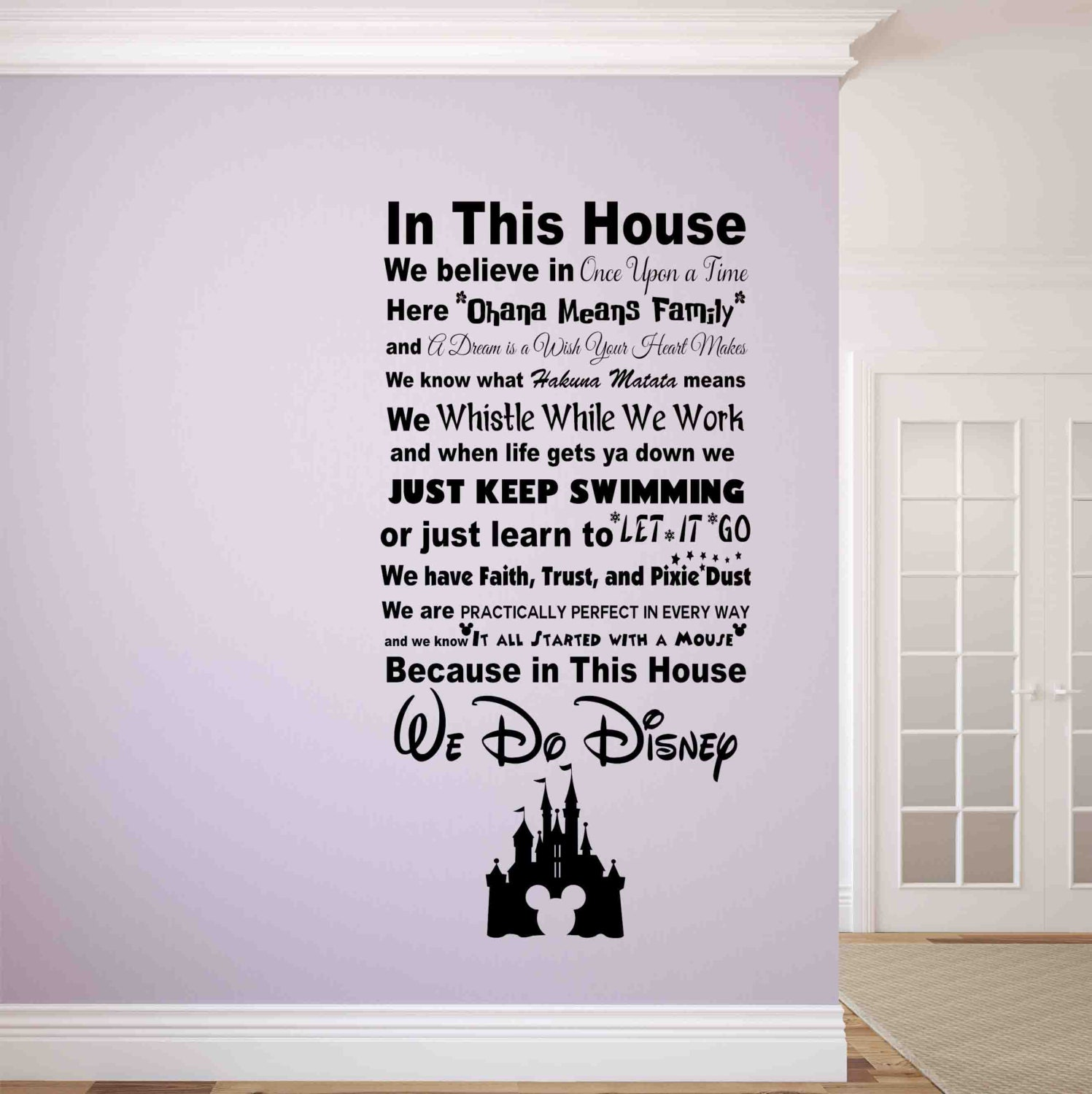 In this house we do disney wall decal disney wall signs disney zoom amipublicfo Choice Image