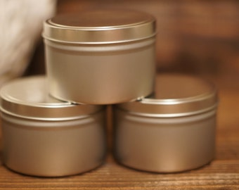 Hand Poured Soy Wax Candle Silver Tin w/ Lid