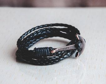 Anchor bracelet. Black leather bracelet. Women bracelet. Men bracelet. gift for her. reddeerjewellery