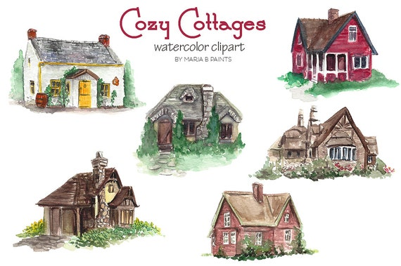 Watercolor Clip Art Cottages Cozy House by MariaBPaintsClipArt