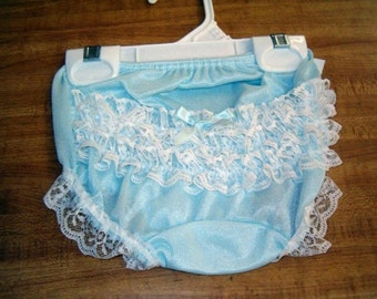 Lt Blue or Navy Rhumba lace rear diaper cover panty bloomers