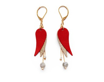 Earring Red Wing leather