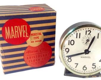 Vintage Marvel 40 Hour Pedestal Alarm Clock. Ingraham Movement, Aristocrat Clock Co