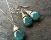 Turquoise and silver wire wrapped necklace and earring set