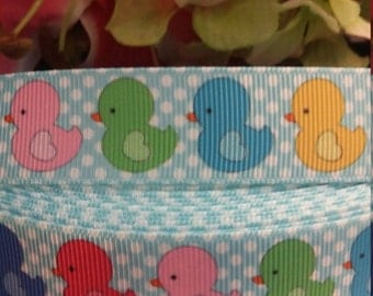 3 yards, 7/8' grosgrain ribbon colorful rubber ducks design