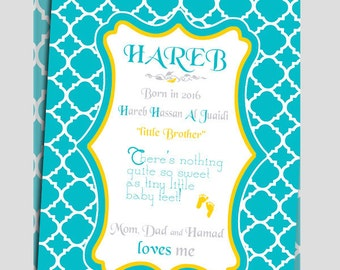 Baby announcement Card with Turquoise Quatrefoil for Girls or Boys