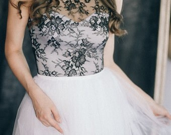 """Black and white bohemian wedding dress """"Hannah"""" 