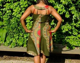 Dashiki high low dress
