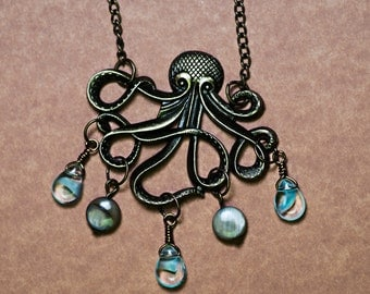 Octopus with Bubbles Necklace - Bronze - Glass Beads