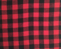 Red and Black Buffalo Check Plaid 100% Cotton Flannel Fabric - 3/4 in check - Fat Quarter, Half Yard, Yard