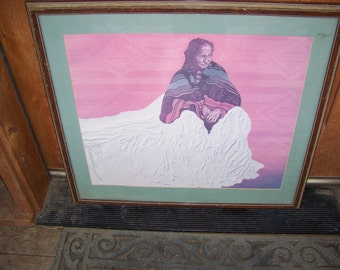 Vintage Native American Indian Painting Print
