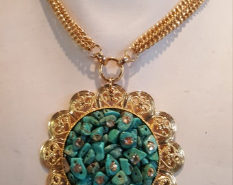 hand made turquoise crystal necklace pendant