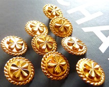 Iconic CHANEL Buttons, with Lucky 4 leaf Clover, Vintage, Chanel Paris France, Gold Tone Metal, Choose Quantity