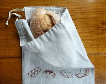 Set of two linen bread bags, storage bag, bread keeper.