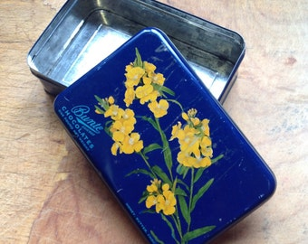 Vintage 1940s candy tin, vintage metal container, blue and yellow canister, metal canister, collectible tin, cookie tin, candy box