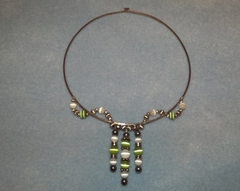 Handmade Beaded Jewelry Wire Wrapped Memory Wire Necklace Choker