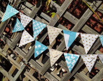 Aqua and gold Bunting, flags or banner for bedroom, garden, birthday fabric bunting baby shower photography prop