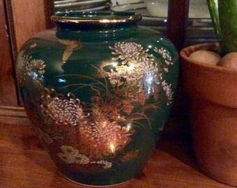 Vintage Japanese Ginger Jar Vase, Toyo Jade Kiku Ginger Jar Vase, Green Mid Century Gold Gilt Ginger Jar, Asian Vase, Oriental Vase