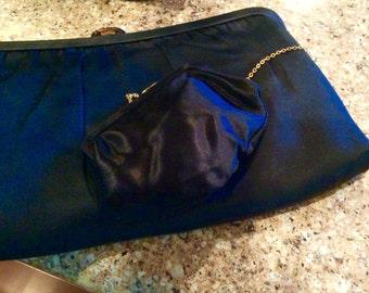 Vintage Black Silk Clutch, Harry Levine  Vintage Silk Evening Bag, Vintage Purse