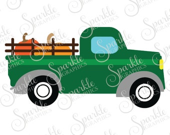 Antique Truck Cut File Fall SVG October SVG Pumpkin Vintage Truck SVG Clipart Svg Dxf Eps Png Silhouette Cricut Cut File Commercial Use