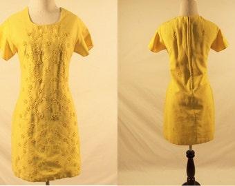 1960's Short Sleeve Yellow Shift Dress