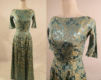 1950's Brocade Dress,Floral Dress