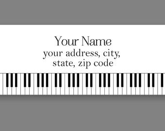 Set of 30 Personalized Return Address Labels Piano Key Board Black White design PAL00003