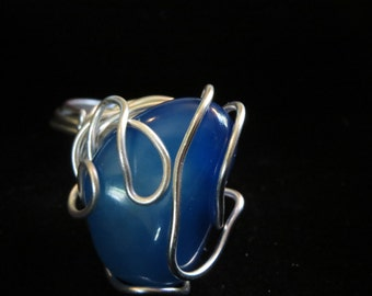 Blue Egate Natural Power stone ring size 9