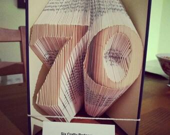 Age 70 birthday bookfold. Book art, Bookami, bookfolding. Big birthday gift, book lover gift. Personalised book art. Unique gift.