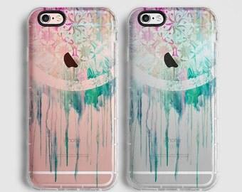 Dream catcher iPhone 7 Plus case, iPhone 7 case, iPhone 6s plus case, iPhone 6s case, iPhone SE case, clear case, mint pink C035